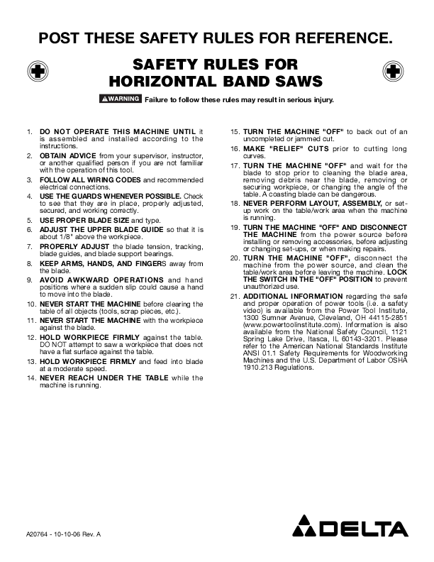 horizontal band saw safety rules
