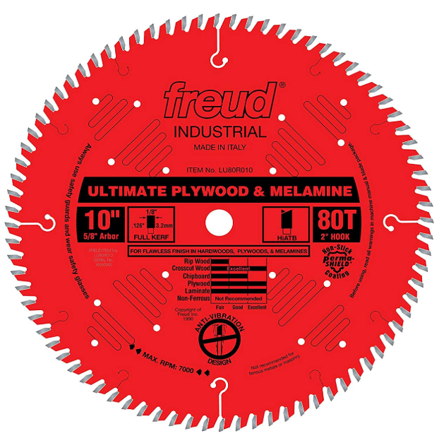 Freud 10 x 80T Ultimate Plywood & Melamine Blade