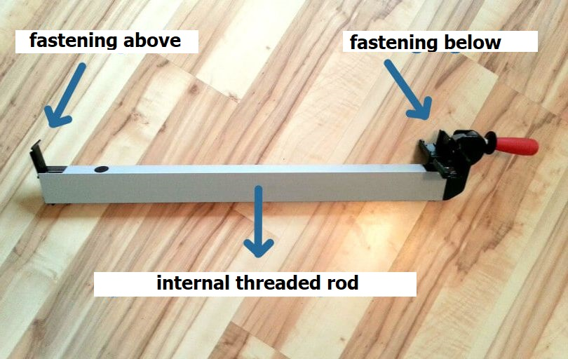 Stable rip fence with 2 attachment points (below and above)
