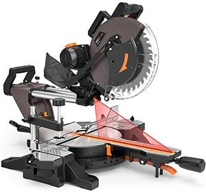Compound Miter Saw, TACKLIFE 12 Inch, 15 AMP Double Sliding Miter Saw, Double Bevel Cutting ( 45° 0° 45°) with Double Sliding Rail Design, Extensible Table, 40T Blade for Versatile Material Cutting