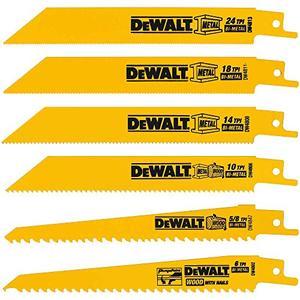 DEWALT Reciprocating Saw Blades, MetalWood Cutting Set, 6 Piece (DW4856),Metallic