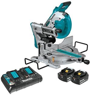 Makita XSL06PT 18V x2 LXT Lithium Ion (36V) Brushless Cordless 10 Dual Bevel Sliding Compound Miter Saw with Laser Kit (5.0Ah)