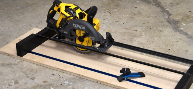 a dewalt circular saw and plywood